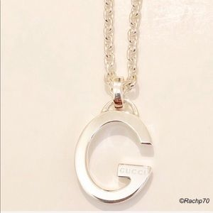 New Authentic Gucci G Logo Pendant Silver Necklace